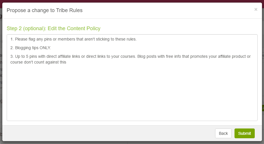 BoardBooster Tribes Content Policy Edit